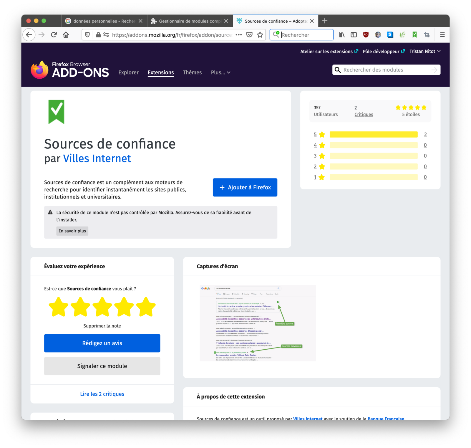L'extension lors de l'installation dans Firefox